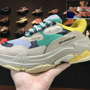 Official Balenciaga Triple-S Sneaker Beige Green Yellow 483513-W06E3-7070 Green Yellow shoe