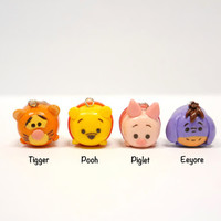 Winnie the Pooh family tsum tsum (includes Pooh, Tigger, Piglet & Eeyore!) charm with free keychain