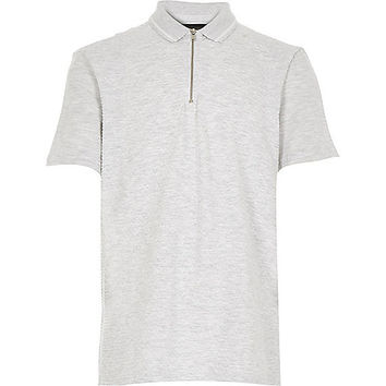 River Island Boys grey textured zip neck polo shirt