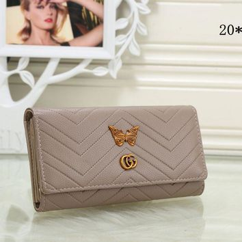 Gucci Popular Women Metal Letter Butterfly Leather Purse Wallet(8-Color) Khaki I-MYJSY-BB