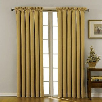 Eclipse Canova Blackout Window Curtain Panel, Gold, 95 X 42
