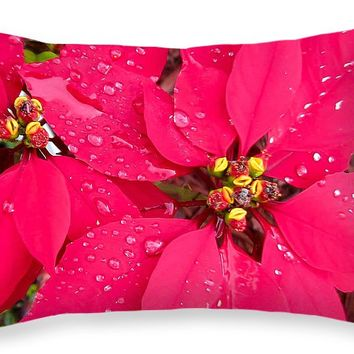 "Poinsettia morning dew Throw Pillow for Sale by Zina Stromberg - 20"" x 14"""