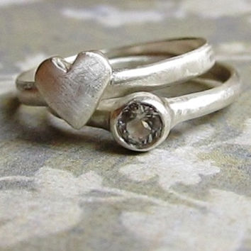 Heart and Gemstone Stacking Rings, 14k White Gold with white Sapphire, Brushed Finish