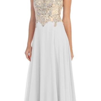 Starbox USA L6098 Off White Illusion Bateau Neck Chiffon Jeweled Bodice Cap Sleeves Prom Dress