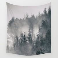 """Mountain light II"". Foggy forest. Wall Tapestry by Guido Montañés"