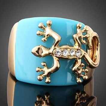 Unique Gecko Blue Opal Animal Ring For Women Punk Rock Fashion Gothic Jewelry Crystal Cocktail Wedding Rings Dropshipping