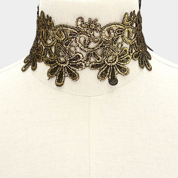 """14"""" gold reversible embroidered choker collar necklace 2.50"""" wide"""