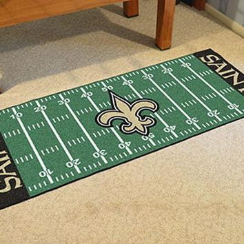 FANMATS New Orleans Saints Field Runner Mat Area Rug, Man Cave, Bar, Game Room