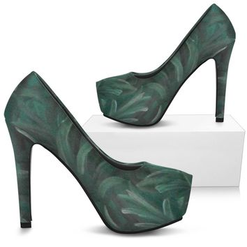 Green Burst Design -  Women's Heels Shoes