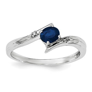 Sterling Silver Rhodium-plated Sapphire and Diamond Ring