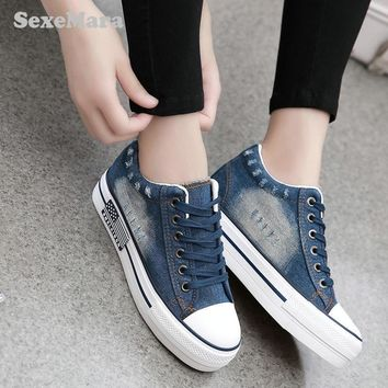 SexeMara Vintage Water Wash Denim Shoes 2016 Breathable Platform Shoes Women Casual Ca