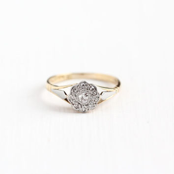 Vintage 18k Yellow & White Gold .17 CTW Diamond Flower Cluster Ring - Art Deco 1940s Size 5 Engagement Bridal Fine 18ct Halo Jewelry