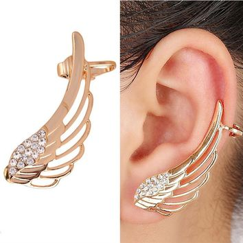 QCOOLJLY Hot New Fashion Punk Rhinestone Clip Earrings For Women Wing Gold CZ Crystal Earring Ear Cuff Jewelry