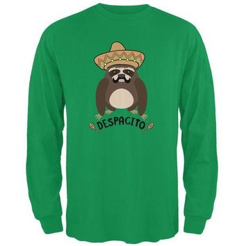 CREYCY8 Despacito Means Slowly Funny Sloth Pun Mens Long Sleeve T Shirt