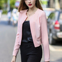 Casual Long Sleeve Unbuttoned Short Blazer