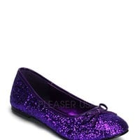 Purple Bow Tie Closed Toe Flats Glitter