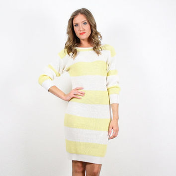 Vintage Yellow White Striped Dress Chunky Knit Sweater Jumper Cable Knit Low V Back Sweater Dress Jumper Dress Pastel Light S Small M Medium