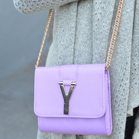 Why Oh Y Lavender & Gold Chain Purse - Lavender