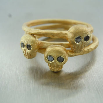Black Diamond Stackable Skull Ring( this listing is for 3 pcs ring )