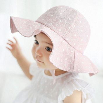 Summer Cotton Children Bucket Hat Girls Brim Beach Hat With Wide Brim Kids Sun Hat Accessories