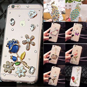 Soft Edge Acrylic mobile phone shell Bling Diamond Luxury Glitter Case For Samsung galaxy note 4 N910 Case Cover