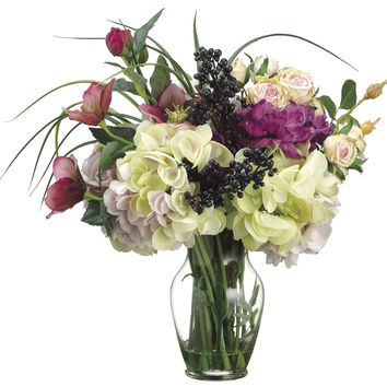 Lifelike Mixed Floral Arrangement in Faux Water Glass Vase