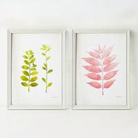 Leaves prints, Pink and green Nursery wall art, 5x7 Print set, Spring decor, Small art, Nursery prints, Girls room art prints, DOWNLOAD art