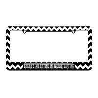 There's No Crying In Weight Lifting - License Plate Tag Frame - Black Chevrons Design