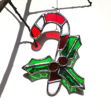 Christmas Ornament Stained Glass Candy Cane Red White Green Holiday Decor Candy Cane with Holly Leaves Glass Christmas Decoration Home Decor