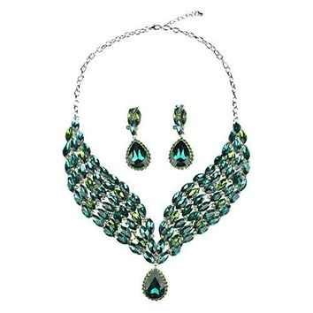 Hamer Costume jewelry Crystal Choker Pendant Statement Chain Charm Necklace and Earrings Sets Women