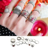 14PCS/set Retro Vintage Boho Style Geometry Finger Ring Silver Plated