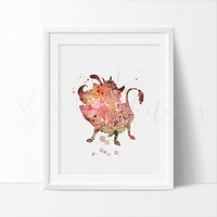Lion King Pumbaa Watercolor Art Print