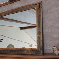 42x30 Reclaimed Wood Mirror - Large Wall Mirror - Rustic Modern Home