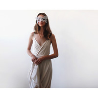 Champagne straps wrap dress, Maxi champagne gown with a slit