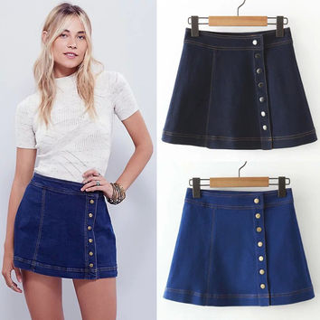 Summer Slim High Waist Denim Skirt [6332287492]