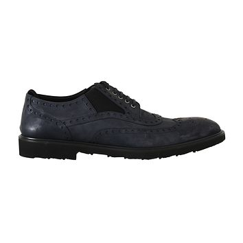 Blue Leather Derby Wingtip Oxford Shoes