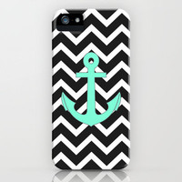 Tiffany Turquoise Anchor Black Zigzag Pattern iPhone Case by Rex Lambo | Society6