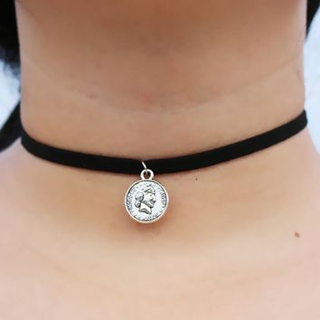N891 Velvet Choker Necklaces Women Clavicle Collares Fashion Jewelry Gothic Bijoux Colier Necklace USA Coin One Dime
