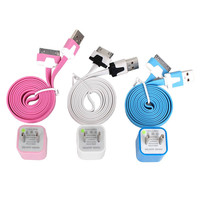 Total 6pcs/lot! Colouful 3PCS USB Data Sync Charging Cable Cord And 3PCS USB Power Adapter Wall Charger For Iphone 4/4s
