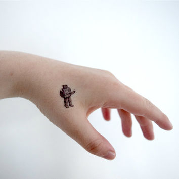 Tiny Temporary Tattoo - Robot, Fandom, Geek, Spring, Black, Illustration, SET OF 4