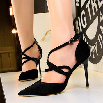 Thin Sexy Cut-Outs Women's Sandals Flock Pointed Toe Shallow