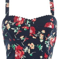 New Look Mobile | Kelly Brook Navy Floral Print Bralet