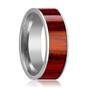 Tungsten Wood Ring - Exotic Padauk Wood Inlay - Tungsten Wedding Band - Polished Finish - 8mm - Tungsten Wedding Ring