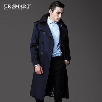 URSMART2015 new authentic high-end men's classic double-breasted trench coat raglan sleeves Mens windbreaker