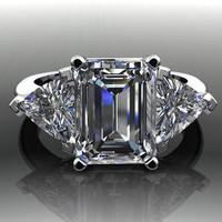 Forever Brilliant Moissanite Emerald Cut Engagement Ring 3.90 CTW