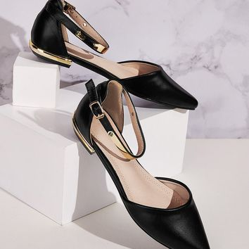 Point Toe Metallic Ankle Strap Flats