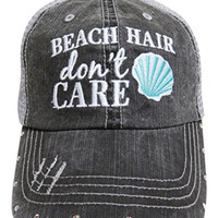 "Embroidered ""Beach Hair Don't Care"" Grey Trucker Baseball Cap W/AB Crystals (Mint Shell)"