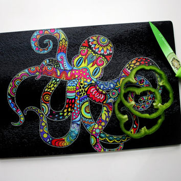 Small Octopus Glass Cutting Board Tempered Glass Kitchen Colorful Nautical Home Decor Hippie Boho Ocean Beach House Sushi Fish Cutlery Gift