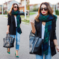 2013 Zara Style Tartan Blanket Scarf Plaid Fringed Green Blue Blogger Favourite