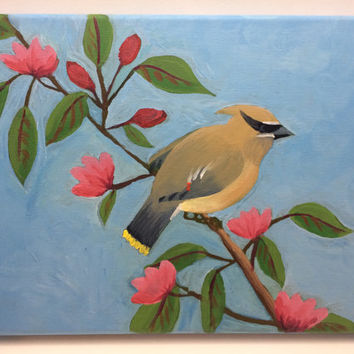 Bird on a Branch Painting, Acrylic on Canvas, Floral Nature Art